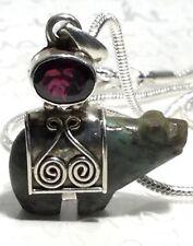"Vtg Hand-Carved Jasper Bear + Garnet 925 Sterling Pendant Necklace 19"" 16g"