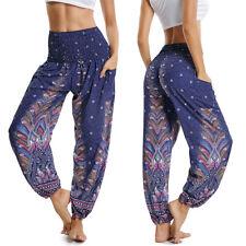 Women Harem Pants Baggy Hippie Boho Yoga Afghani Genie Indian Aladdin Trousers O