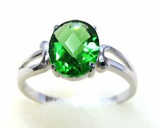 #R500S 1.5ct Forest Green Helenite Oval Checkerboard 925 Sterling Silver Ring