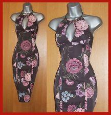 KAREN MILLEN Brown Floral Print Stretch Halterneck Cocktail Party Dress UK12  40