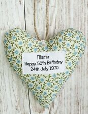 Happy 50th Birthday Heart Keepsake, Homemade Gift, Personalised, Gift Boxed