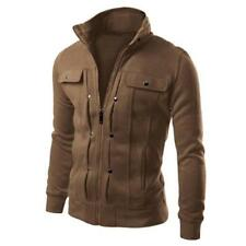 Men's Slim Fit Stand Collar Coat Tops Military Jacket Winter Outwear Blazer Coat