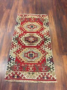 On Sale  Hand Knotted Indo Kazak Oushak Geometric Area Rug Carpet 2x4ft,C