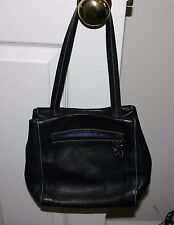 Reaction Black  Leather Tote Purse EUC