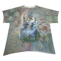 Floral Cat T Shirt Hippie Love Colorful Graphic Size Large