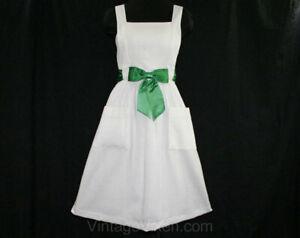 Size 6 Summer Dress - Mollie Parnis 1960s White Linen - Emerald Green Satin NOS