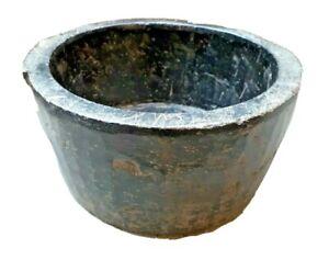 Indian Old Mortar Tribal Primitive Black Stone Hand Carved Big Bowl