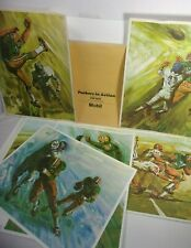 1965 Green Bay Packers in Action Print Lot Artist Bruce Bomberger Mobil Oil T*
