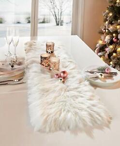 Tischläufer weiß Fell Tischdecke Kunstfell Herbst Tischdeko Weihnachtsdeko creme