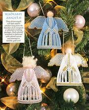 RADIANT ANGELS CHRISTMAS ORNAMENTS PLASTIC CANVAS PATTERN INSTRUCTIONS