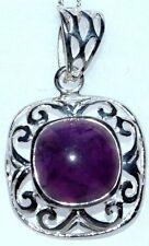 Amethyst Chunky Sterling SILVER Pendant Genuine Purple Gem NEW Handmade 925 Gift