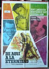 FROM HERE TO ETERNITY movie poster Spanish 2nd release RARE MONTGOMERY CLIFT