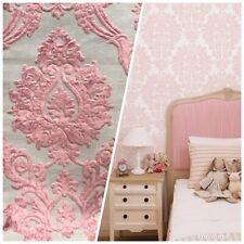 NEW Designer Velvet Chenille Burnout Damask Upholstery Fabric - Pink BTY