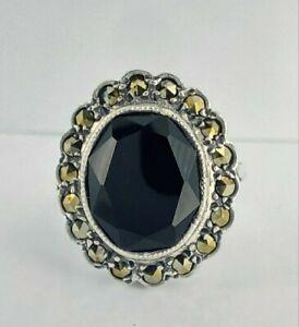 Beautiful Vintage Sterling Silver Black Onyx & Marcasite Cluster Ring UK M