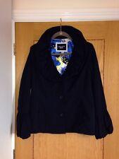 PER UNA Women's Dark Navy Ruffle Collar & Sleeve Jacket Size 14 - Hardly Worn