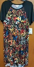 NWT LULAROE CARLY LARGE BLACK SLEEVES FLORAL BODY HIGH LOW HTF