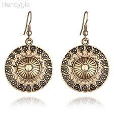 Boho Vintage Antique Gold Round Hook Dangle Earrings