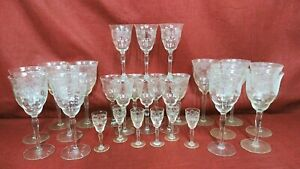 Lovely Etched Stemware Wine/Water/Cordial  Set of 28