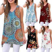 Womens Sleeveless Floral Swing Long T Shirt Casual Beach V Neck Loose Top Blouse