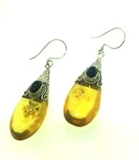 Sterling Silver AMBER DROP Loose Glass Teardrop Earrings 1/2ct Oval Black ONYX