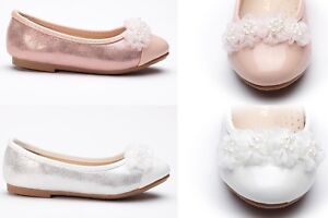 Girls Toddlers & Youth Ballerina Mary Jane Flower Girl Shoes White,Pink  9-4