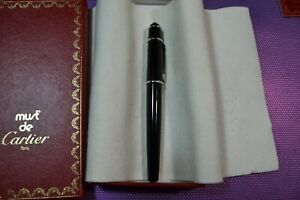 CARTIER DIABLO, BICOLOR 18 K /750 STERLING FOUNTAIN PEN M NIB/MINT/BOX EXTRAS!!