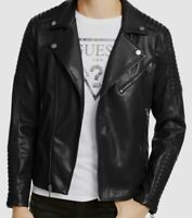 $298 Guess Men's Black Quilted Faux Leather Biker Moto Jacket Coat M *REPAIRED*