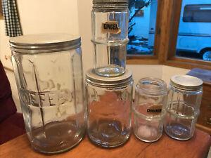 Vintage Hoosier Cabinet Glass Jars-Coffee-Tea + 3 Spice Jars Aluminum Lids