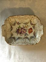 "**STUNNING** ANTIQUE DRESDEN CANDY DISH EARLY CROSSED SWORDS MARK 8"" X 5.75"""