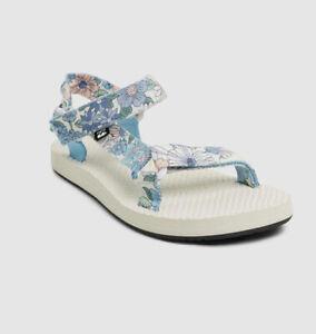 Billabong Floral Scrunch Sandals White Blue Sport Beach Sandals Size 8