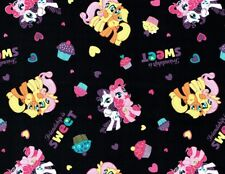 Fat Quarter My Little Pony Cupcake Black Cotton Quilting Sewing Fabric