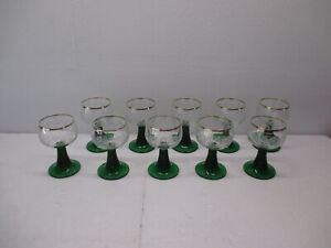 MINT 10 EA Vtg ROEMER France Wine Grapevines Cordial Goblet Bar Glasses Green