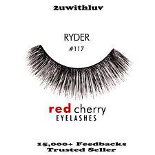 3 X RED CHERRY 100% HUMAN HAIR BLACK FALSE EYE LASHES #117 BRAND NEW