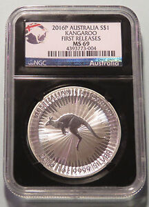 2016 Australia Silver NGC Retro MS69 First Releases Red Kangaroo 1 Dollar Coin a