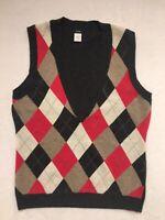 J Crew Womens L Cashmere Wool Sweater Vest Argyle Sleeveless Pink Gray Beige