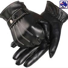 Men's Cool PU Leather Winter Wrist Glove Driving Black Warm Gloves CGLOV 3339