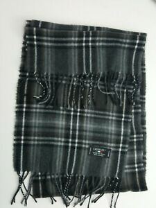 """NWT Men's CASHME Charcoal Gray Plaid Scarf-Made in Italy-72""""L x 11""""W"""