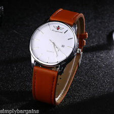 Men's Slim Calendar Analog Dial Quartz White Face Round Case Watch Brown Strap