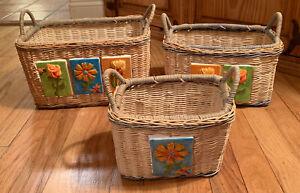 Nesting Boho Wicker Baskets Set of 3 Rectangle Ceramic Tiles on Front Flowers Bu