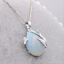 Women 925 Silver Fire Opal Gemstone Butterfly Pendant Necklace Fashion Jewelry
