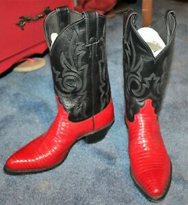 Justin Women's Size 7 B Lizard Cowboy Boots Red Black Pointed Toe Western PullOn