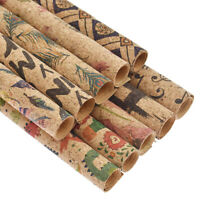 A4 Flower Soft Cork Leather Fabric Dinosaur Printed Natural Craft DIY Sewing