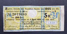 5 % Anleihe Deutschen Reichs 5 Mark Berlin 1915 Zinsschein Banknote Gelb (8090)