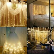 LED Fairy Curtain String Light Hanging Backdrop Wall Lights Christmas Wedding