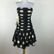 dc055b3a9a Betsey Johnson Prom Party Dress Black Beige Polka Dot Size 8 Silk