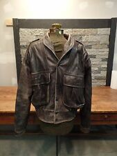 Masquerade Leather Jacket Distressed Bomber Biker MOTO Snap Up Men's Size M Vtg