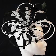 Black/White Feather Fascinator For Races, Proms , Weddings