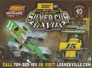 2008 Steve Kinser + Donny Schatz + Scott Bloomquist WOO Lernerville postcard