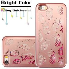for iPhone 5 5s SE - Cute Pink Pineapple Glitter Stars Liquid Water Skin Case