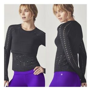 Fabletics Shelby Long Sleeve Black Top - Lacey Cutouts - Sz M